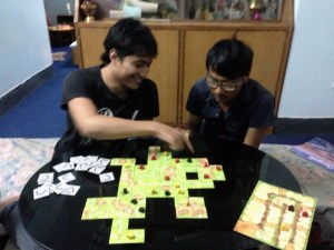 Teaching Carcassonne to some Nepali friends