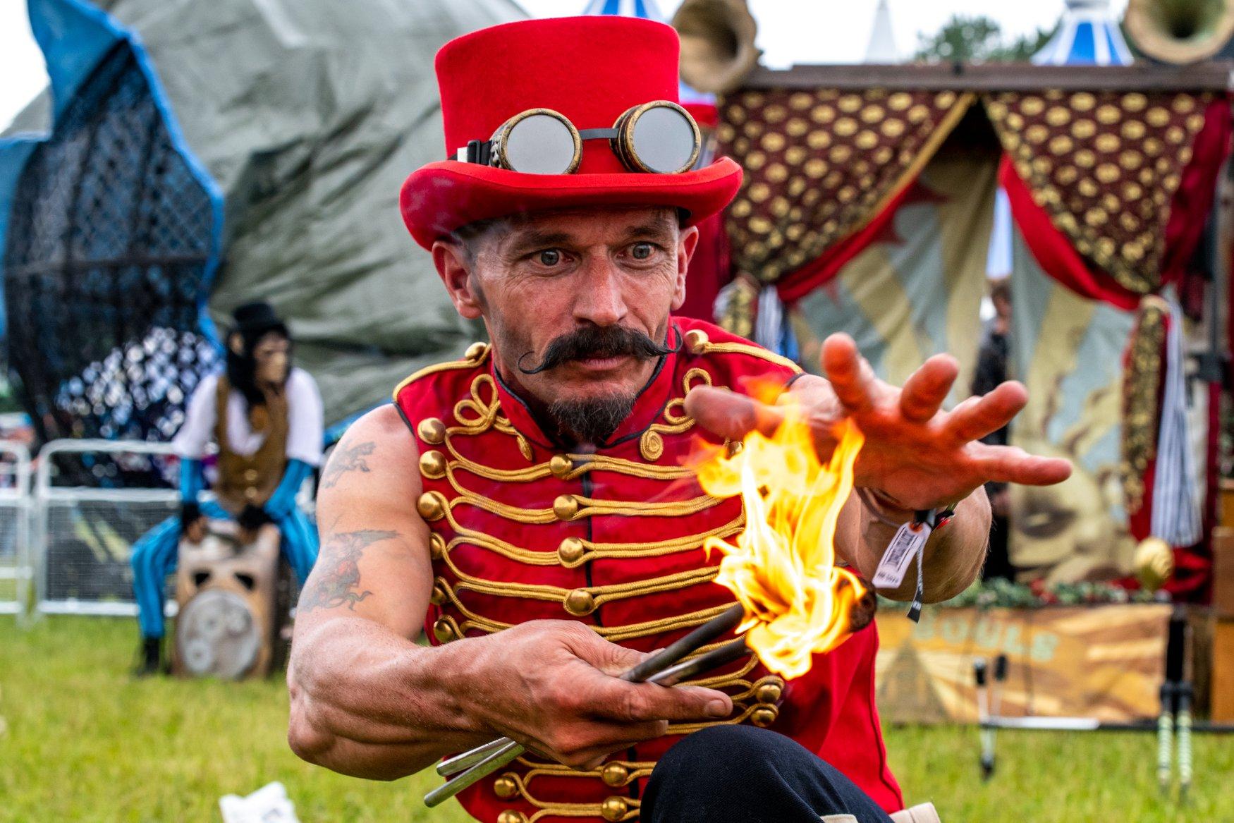 wedding fire performer