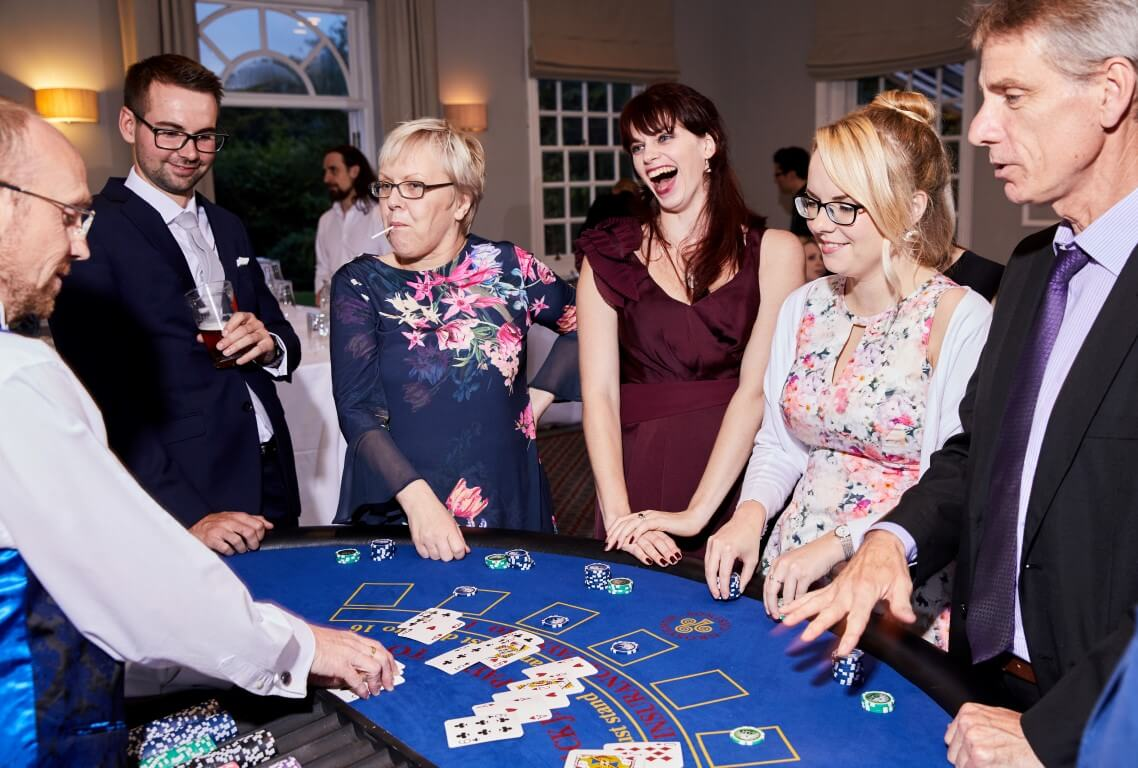 Guests enjoying the blackjack table.