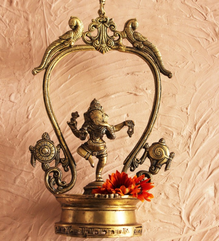 dancing ganesh on peacock frame w chain1