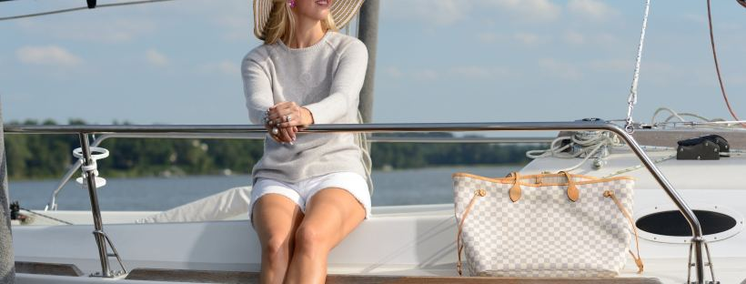 Transitional White Shorts and Grey Sweater