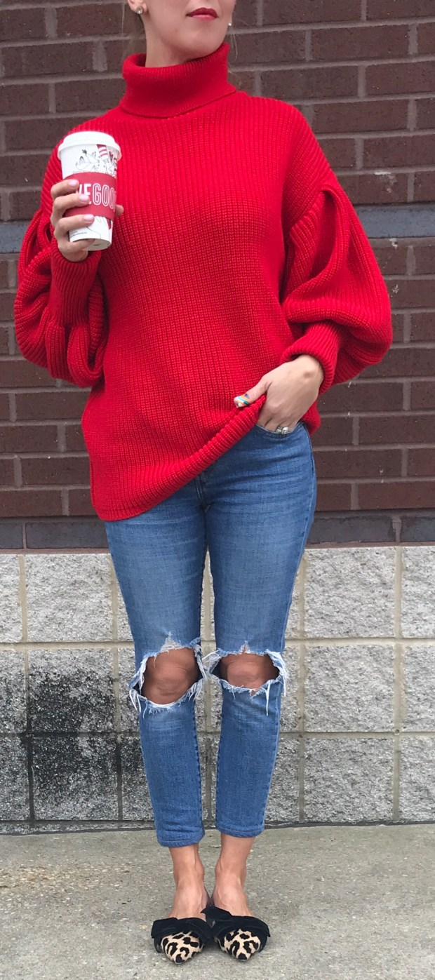 The most comfortable red sweater. The balloon sleeves make it a statement piece while the color keeps it classic