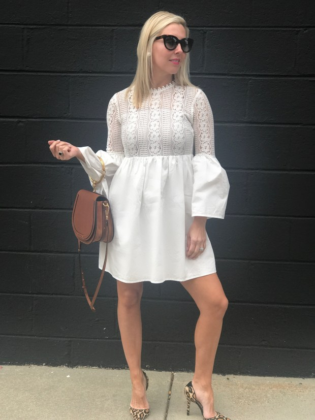 This is the perfect little white dress. It is comfortable, affordable and perfect for so many events - date night, girls night out or brunch.