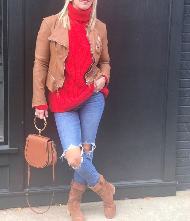 Red and Camel are such a classic and gorgeous combination. Wear this red sweater and brown faux leather jacket running errands, having lunch with the girls or a casual date night out.