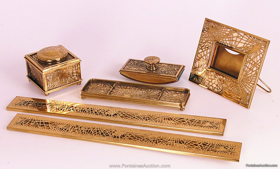 c1211b915b5 DESK SET TIFFANY OVERLAY. 6 pieces containing blotter ends