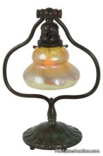 Tiffany Studios Harp Desk Lamp With a pulled feather art glass shade