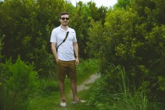 Josh before entering this wall of shrubbery.