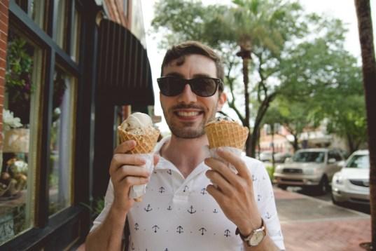 A happy Josh is happy via his belly.
