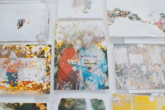 These photographs were naturally damaged by the tsunami.