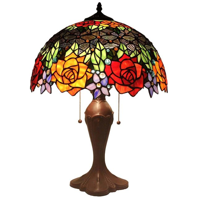 Bieye L11409 Rose Tiffany Style Stained Glass Table Lamp Tiffany
