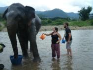 luke and i giving ele bath