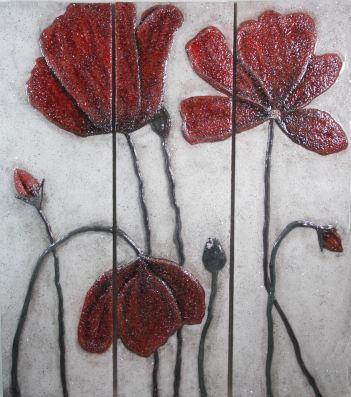 "Spring Poppies-12""x42""/panel (set of 3 panels)"