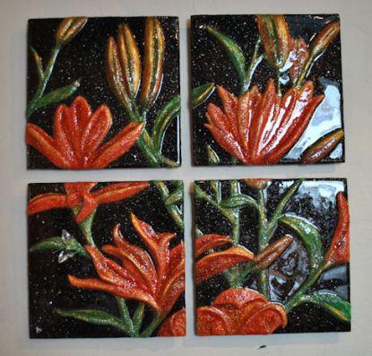 "Orange Lilies-11""x11""/panel (set of 4 panels)"