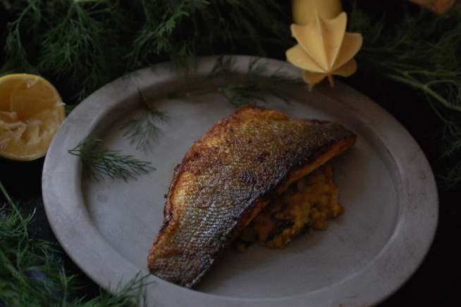 Dill daal and crispy sea bass