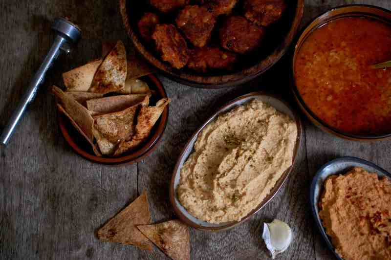Soup, Hummus and Falafel on table
