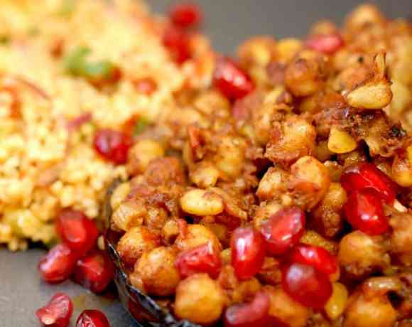 Aubergine with chickpeas and pomegranate and kisir to the side
