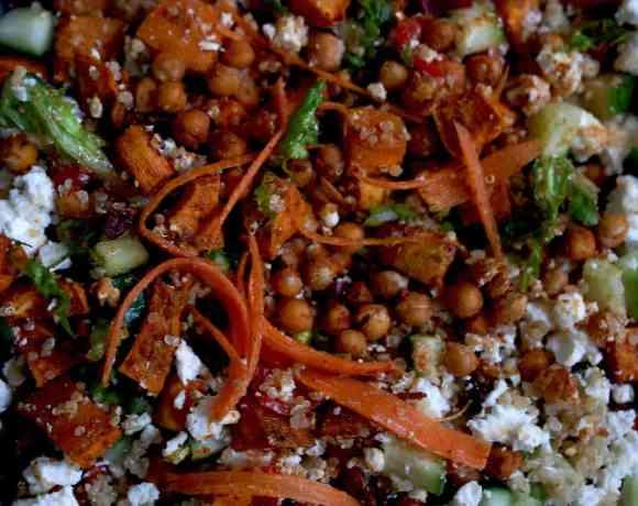 Chickpea,sweet potato, feta and quinoa salad