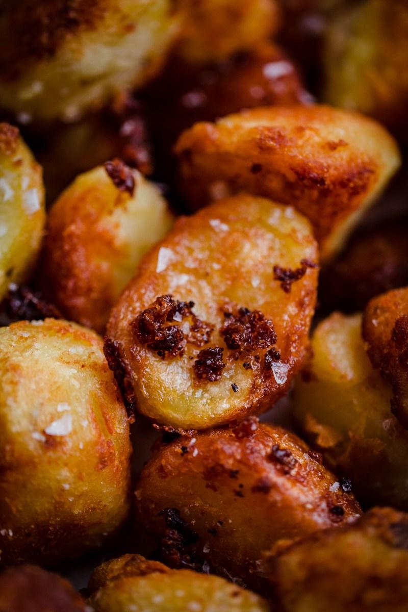 A close up pic of crunchy Roast Potatoes