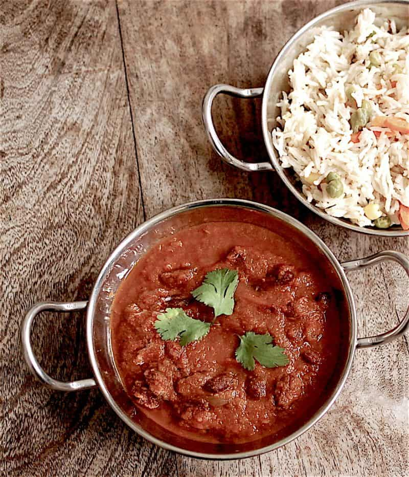 Kidney beans curry - rajma masala on table with rice