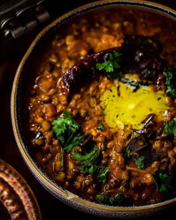 Bowl of Mung Daal with Red Chillies, Butter and Coriander