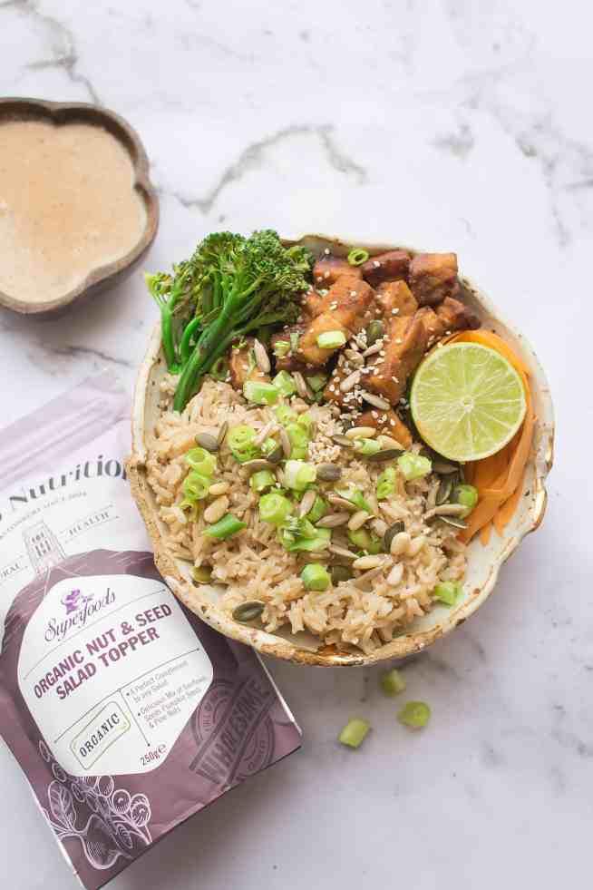 Crispy Tofu, Vegetable and Brown Rice Satay Bowl