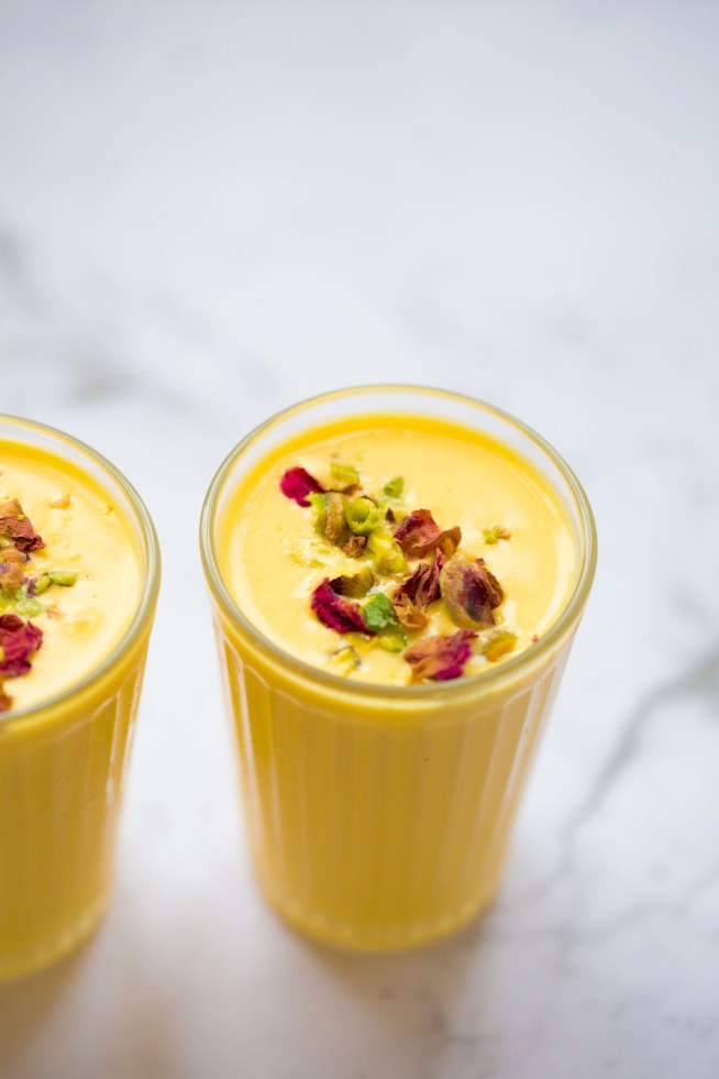 Skinny Rose Petal Mango Lassi with Pistachios and Cardamom