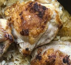 Chicken and rice cooked in pot
