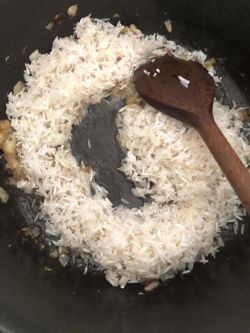 Rice added to pot