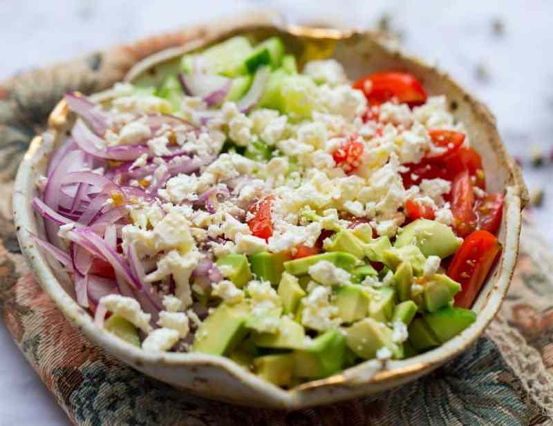 Feta and Avocado Salad in a bowl on table