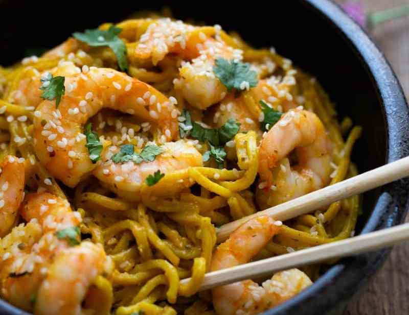 Lentil Turmeric Spaghetti and Prawns in bowl with chopsticks