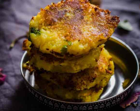 Aloo Tikki Piled up on metal dish