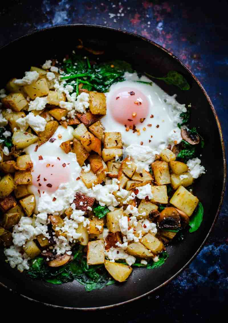 Egg, Spinach, Mushroom, Potatoes in a pan