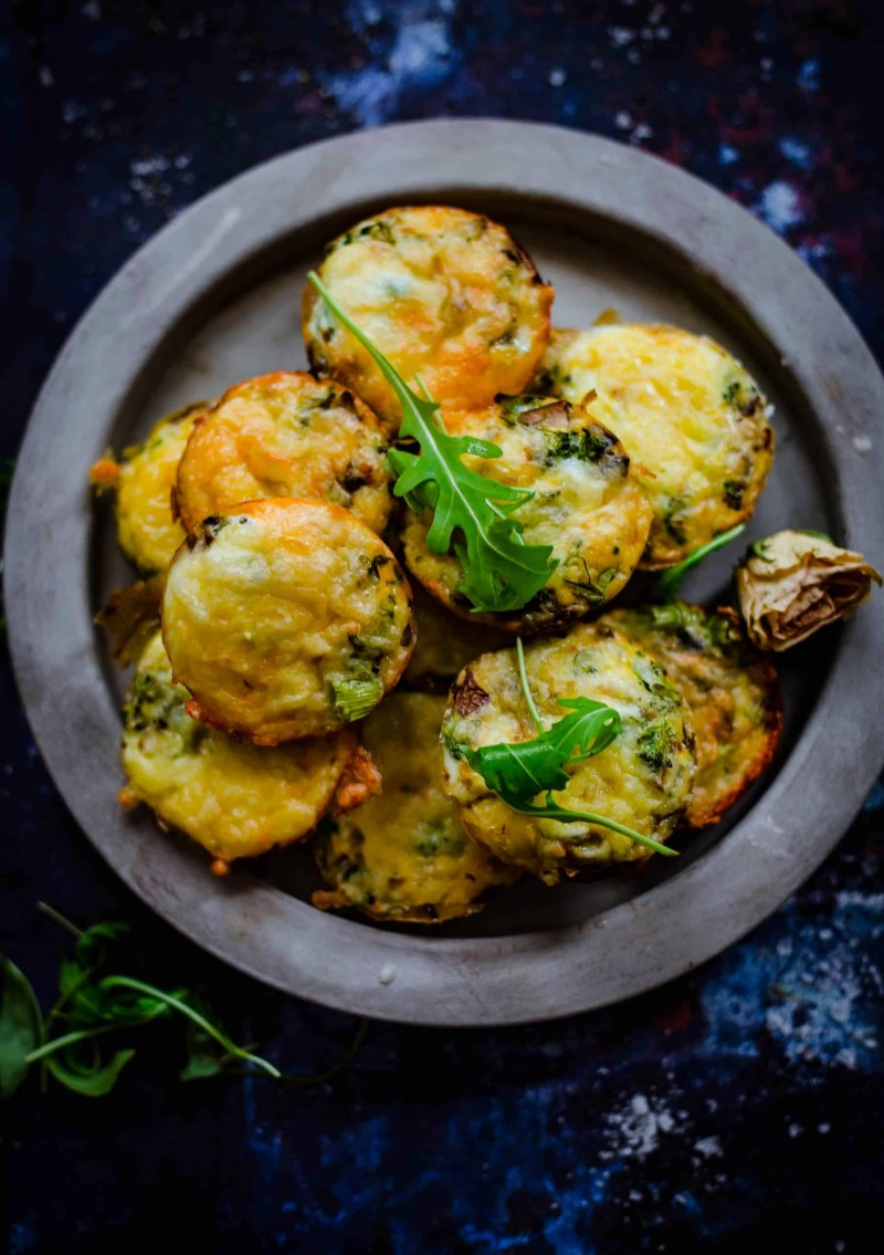 Egg Muffins in grey plate