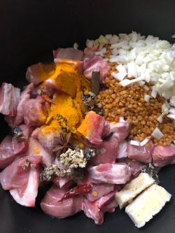 Lamb, turmeric, dagar na pool, spices, frozen garlic and ginger, onions and dal in pot