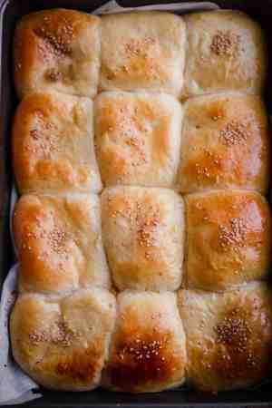 Chicken Milk Buns baked in a rectangle tray