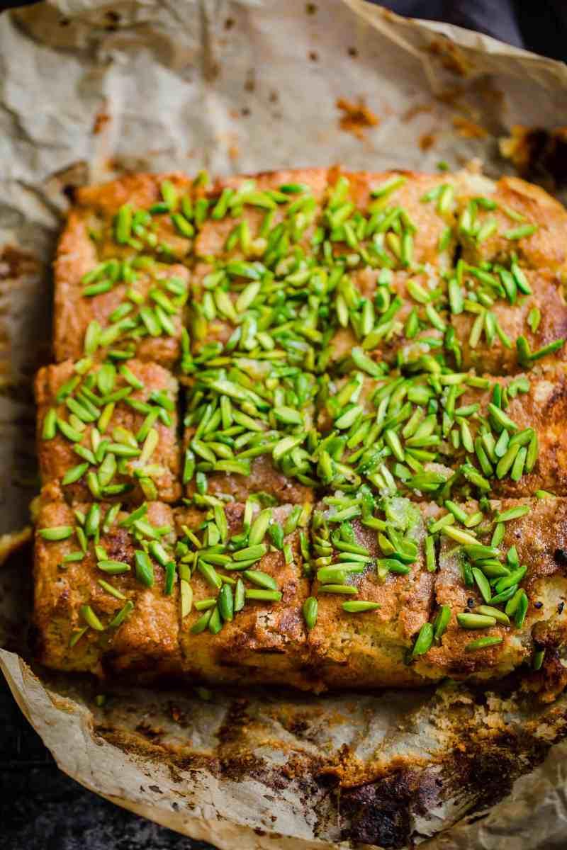 Lemon Pistachio Cake on baking paper