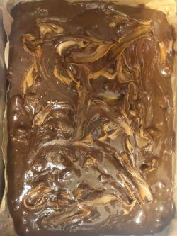 Biscoff swirled through brownie mix