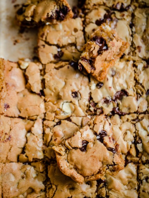 Cookie Bar Traybake cut into bars