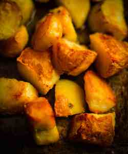 Crunchy Roast Potatoes in a tray