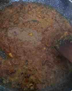 Masala simmering in pan