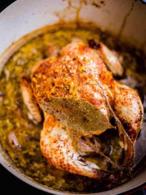 Chicken in Milk in a pot