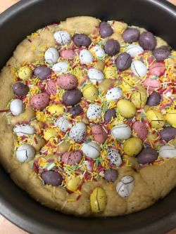 Baked Mini Egg Cookie Dough in a tin