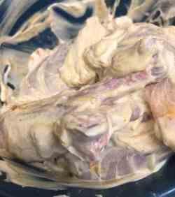 Chicken marinading in Yoghurt and ground Spices