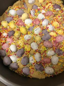 Cookie Dough with Mini Eggs and Sprinkles all over top
