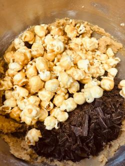 Popcorn added to batter in bowl