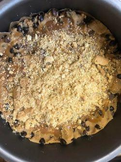 Digestive crumb added to round tin