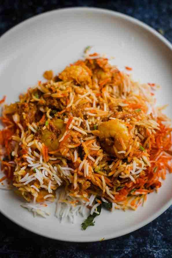 Prawn Biryani in a plate