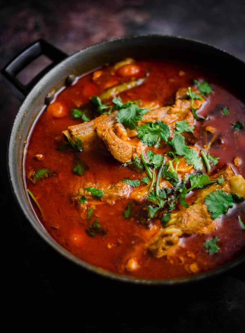 Lamb Chops Curry on a dark background