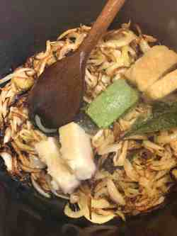 Ginger, garlic and green chilli added to pot
