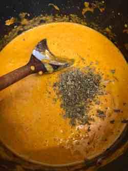 Dry fenugreek added to pot